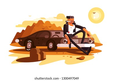 Cool tough guy sitting on car and smoking. Desert and sunset vector illustration. Male in black suit with bottle of alcohol flat style concept. Isolated on white