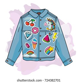 Cool trendy jeans jacket with fashion cartoon 80s 90s comic style patches badges. Street hipster fashion vector illustration