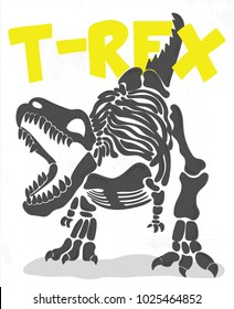 cool t-rex fossil illustration for kids tees, vector