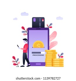 Cool ultraviolet vector contactless direct person to person payment using smart phone application and bank account credit card data. Concept design on people using their phones as electronic wallets