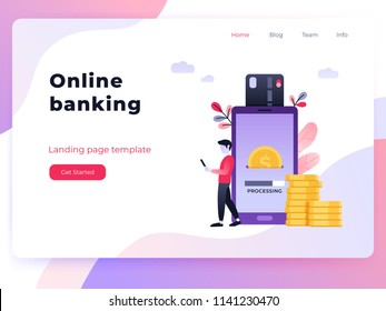 Cool ultraviolet vector contactless direct payment using smart phone application and bank account credit card data. Landing page concept people using their phones as electronic wallet
