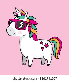 A cool unicorn wearing sunglasses on a pink background. Vector illustration.