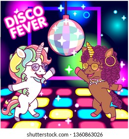 Cool unicorns dancing at the disco under the mirrorball, 70s disco fever