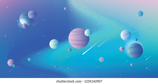 Cool universe scene with vibrant gradient space, planets, stars and falling comets