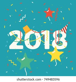Cool vector 2018 New Year abstract background with celebrate party elements, confetti, serpentine, hats and star balloons. Ideal for greeting cards, posters and banners