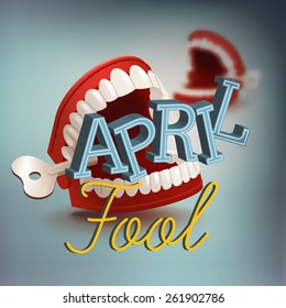 Cool vector april fool's day concept design with chattering teeth practical joke item