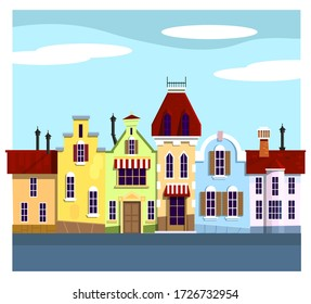 Cool vector background Amsterdam street facades cartoon vector illustration , colorful urban canal , beautiful landscape, architecture amazing style . Dutch golden age style in architecture.
