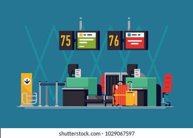 Cool vector background on airport check-in desk in trendy flat design. Travel themed illustration on international airport terminal airline counters with luggage and abstract flight information boards