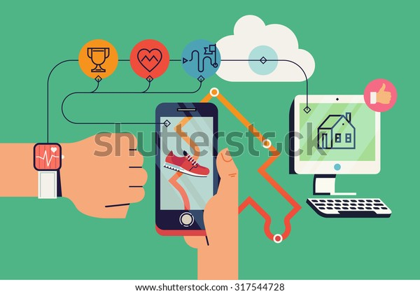 Cool vector background on run tracking application user with fitness wrist bracelet and mobile device with track displayed connected to cloud service data export and various device synchronization