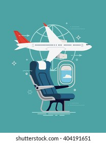 Cool vector background on travel. Airline travel, business trip, vacation journey concept illustration with cabin seat and window, airliner jet plane and world globe linear icon