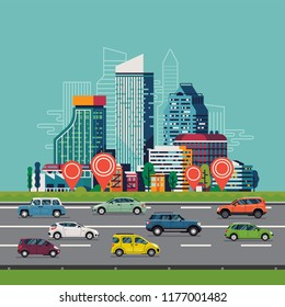Cool vector background on urban traffic and transport infrastructure with modern high-rise buildings or business part and busy road with cars and vehicles