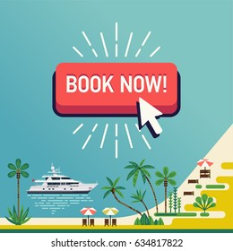 Cool vector banner template on travel and tropical beach resort summer trip with sea chore, palm trees, yacht and flat design 'Book Now' button. Ideal for web ads and banners