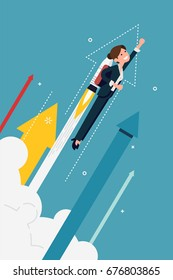 Cool vector banner template on businesswoman flying off with jet pack. Great start, career boost or fast business growth metaphorical illustration with female office worker and abstract arrows