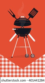 Cool vector barbecue party background with copy space. Barbecue cookout event. Spring or summer barbecue weekend celebration poster template with red checkered tablecloth, cooking grill, paddle, fork