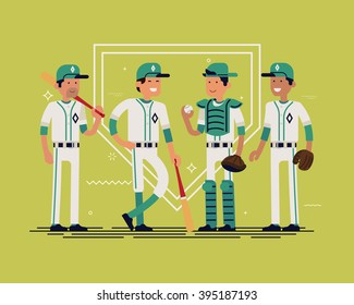 Cool vector baseball team standing full length, isolated. Group line-up of equipped male softball players in white and green clothes with bats smiling. Sport professional career concept layout