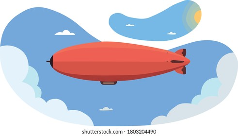 Cool vector blimp plane flying with blue sky and clouds on background. Zeppelin airship airship balloon flight, flat design, side view