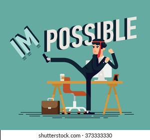 Cool vector businessman flat concept design character in high kick pose with red tie on his head fighting making impossible possible