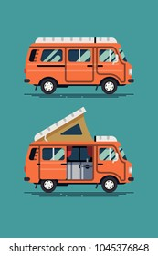 Cool vector camping van design element in trendy flat design. Ideal for summer vacation and road trip adventure themed graphic, web and motion design