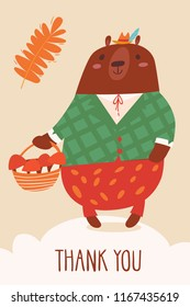 Cool vector card por poster with a bear and Thank you text