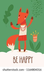Cool vector card or poster with a fox and Be happy text