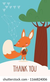 Cool vector card or poster with a squirrel and Thank you text