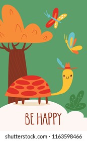 Cool vector card or poster with turtle and Be Happy text