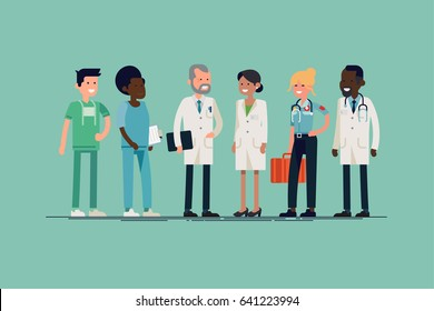 Cool vector character design in medicine professionals. Clinic or hospital team. Surgeon, nurse, doctor, paramedic, medic. Female and male medical workers line-up in flat design, isolated