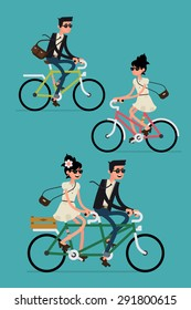 Cool vector character design on adult young man and woman riding bicycles and couple riding tandem bike. Stylish male and female hipsters on bicycle, side view, isolated