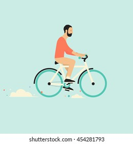 Cool vector character design on adult young man riding bicycles. Stylish male and hipsters on bicycle, side view, isolated