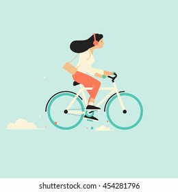 Cool vector character design on adult young woman riding bicycles. Stylish female hipsters on bicycle, side view, isolated