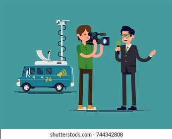 Cool vector character design on special correspondent and camera man performing news report. Journalist reporter at work