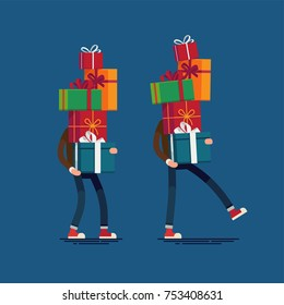 Cool vector character design on man carrying tall stack of gift boxes. Christmas festive season shopping illustration. Boxing day concept