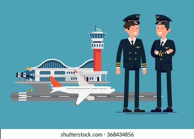 Cool vector characters on commercial aviation pilot male characters standing with airport on background, flat design. Two civil aviation pilots standing