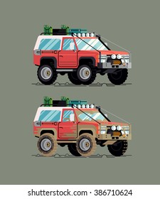 Cool vector clean and dirty fully equipped expedition safari SUV off road big wheel vehicle illustration, flat design. Classic 4WD car with mud terrain tires transportation traffic design element