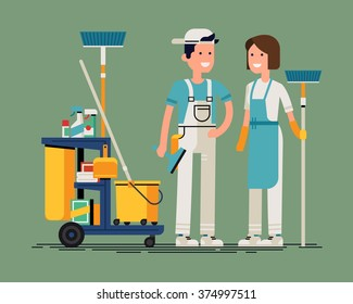 Cool vector cleaning staff characters with cleaning equipment in trendy flat design. Friendly smiling adult janitor workers standing