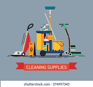Cool vector Cleaning Supplies in flat design. Commercial cleaning equipment with cart, vacuum cleaner and spinner