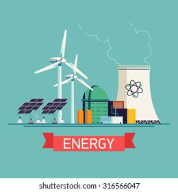 Cool vector concept background on modern eco friendly power sources and energy | Zero or low emission energy generation creative flat illustration with wind turbines, solar panels and nuclear plant