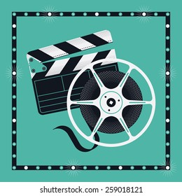 Cool vector concept design with clapperboard and cinema motion picture film reel in marquee square frame