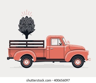 Cool vector concept design on delivery or supply with retro farm pickup truck and artichoke icon. Graphic engraving style illustration on vintage old style delivery flatbed truck vehicle