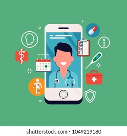 Cool vector concept illustration on telemedicine and online doctor consultation with healthcare icons and  medic professional portrait on smartphone display