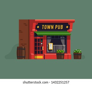 Cool vector concept illustration on pub, restaurant or tavern facade. Traditional styled bar front with wood barrels, awning and flower pots