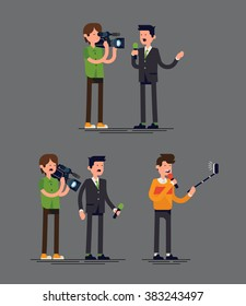 Cool vector concept illustration on traditional news crew with reporter and cameraman comparing to modern reporter with selfie stick. Technology trends in news media industry illustration