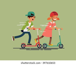Cool vector concept illustration on little kids having fun outside. Happy small children riding kick scooters outdoors. Summer break, boy and girl having free time playing. Flat design