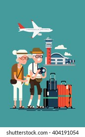 Cool vector concept illustration on elderly travel and tourism. Senior age couple ready to boarding at airport. Third age travelers ready for summer holidays trip. Grandparents traveling, flat design