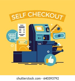 Cool vector concept illustration on 'Self Checkout' shop cashier. Self service cash desk flat design illustration with cash machine, plastic card, money bill, check and shopping themed icons