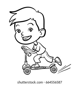 Cool vector concept illustration on little European boy having fun outside. Happy small European  boy riding kick scooters outdoors.