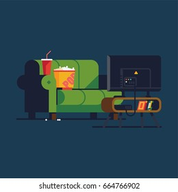 Cool vector concept illustration on home cinema featuring green sofa couch, popcorn, soda beverage and flat panel TV set