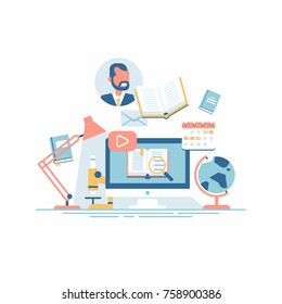 Cool vector concept illustration on e-learning, online courses, virtual classroom and other educational themed activity process