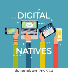 Cool vector concept illustration on digital natives. Digital technology age generation.  Abstract hands with mobile electronic devices. Technology in society and everyday life