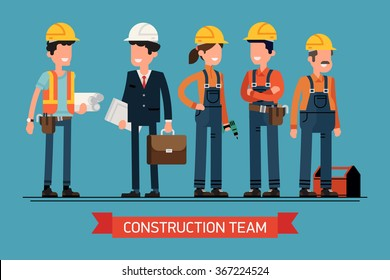 Cool vector concept layout on construction team characters line-up. Group of construction workers in hard hats friendly smiling. Civil engineer, architect and construction workers characters group